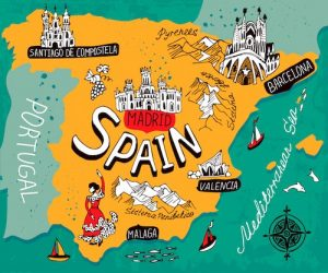 Cartoon map of Spain