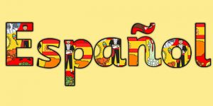 The word for Spanish in the Spanish language decorated with traditional latin cultural events or items i.e. insturments or dancers