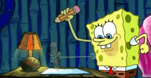 Pictured: cartoon character Spongebob writing an essay