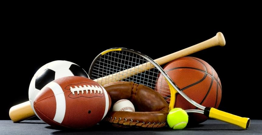 This is a picture of different sports equipment.