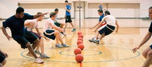 Pictured: people playing dodgeball