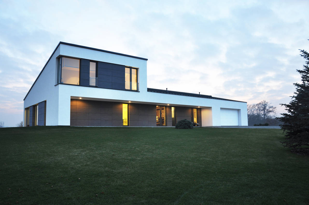 This is an image of an architecturally advanced house for a single family.