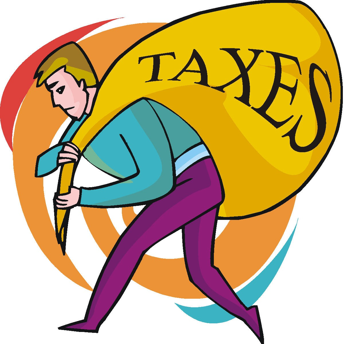 A man carrying taxes