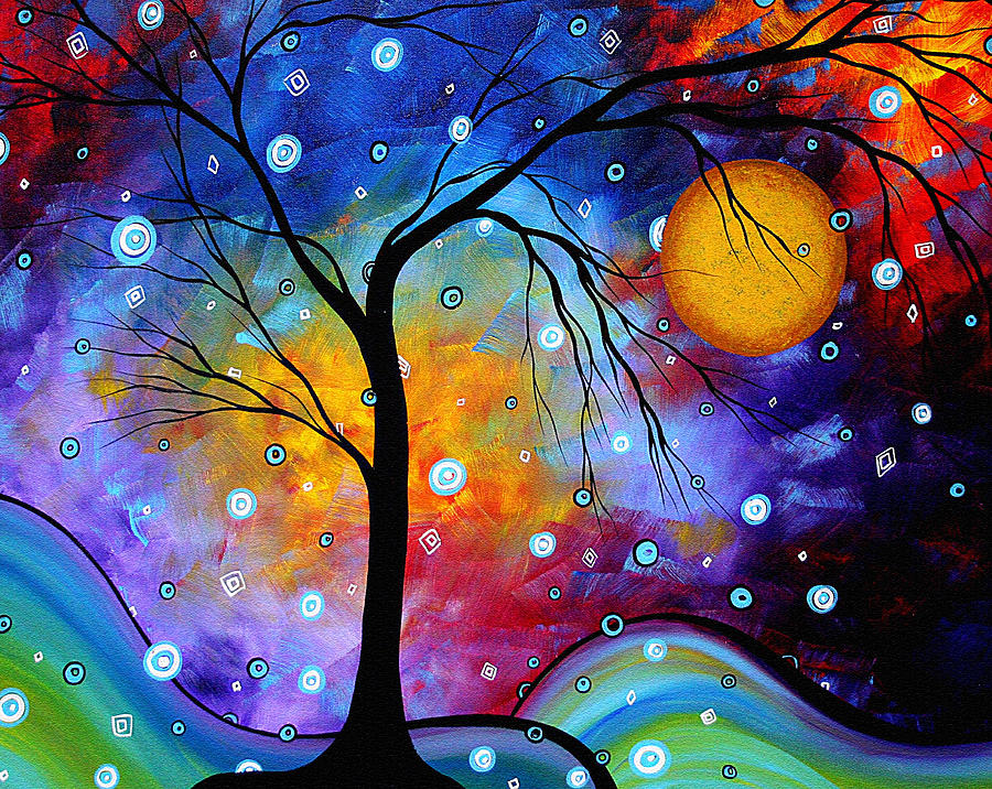 A painting of a tree.