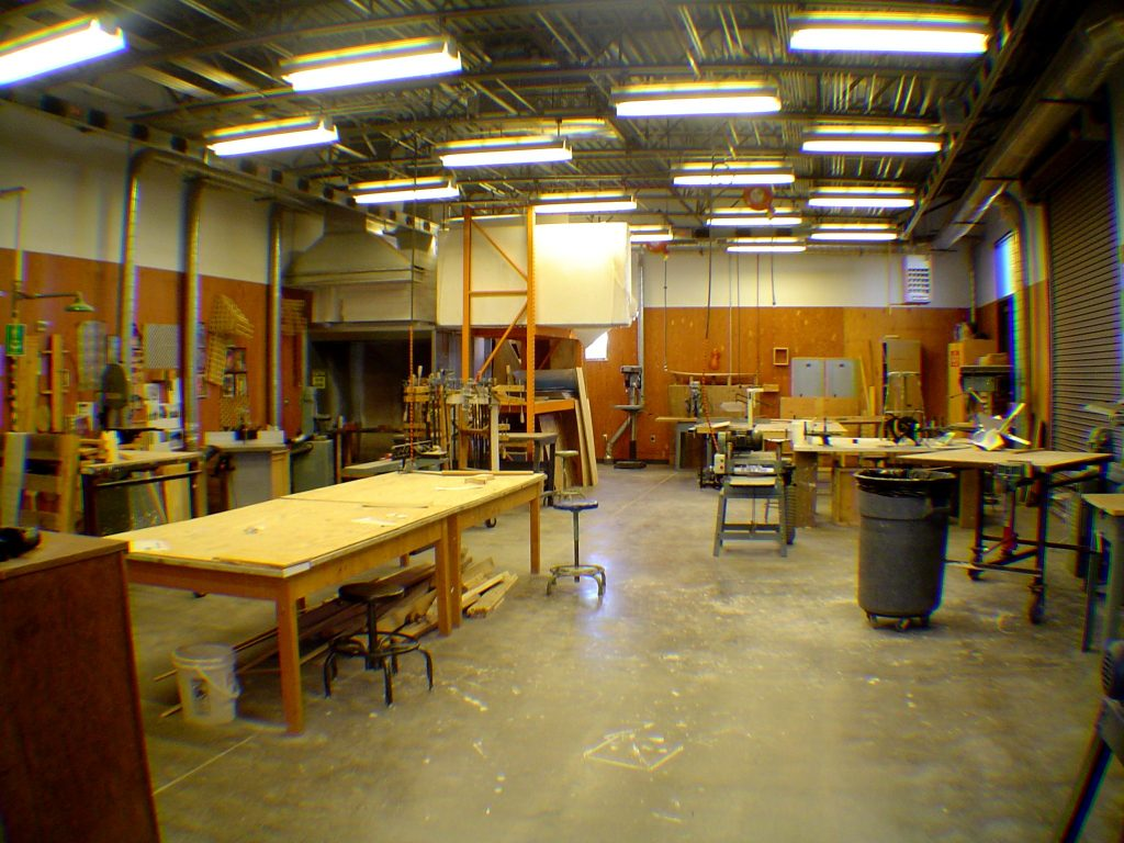 The interior of a woodshop.