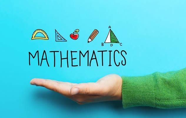 A hand under the word mathematics.