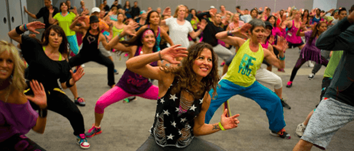 An image of people participating in Zumba.
