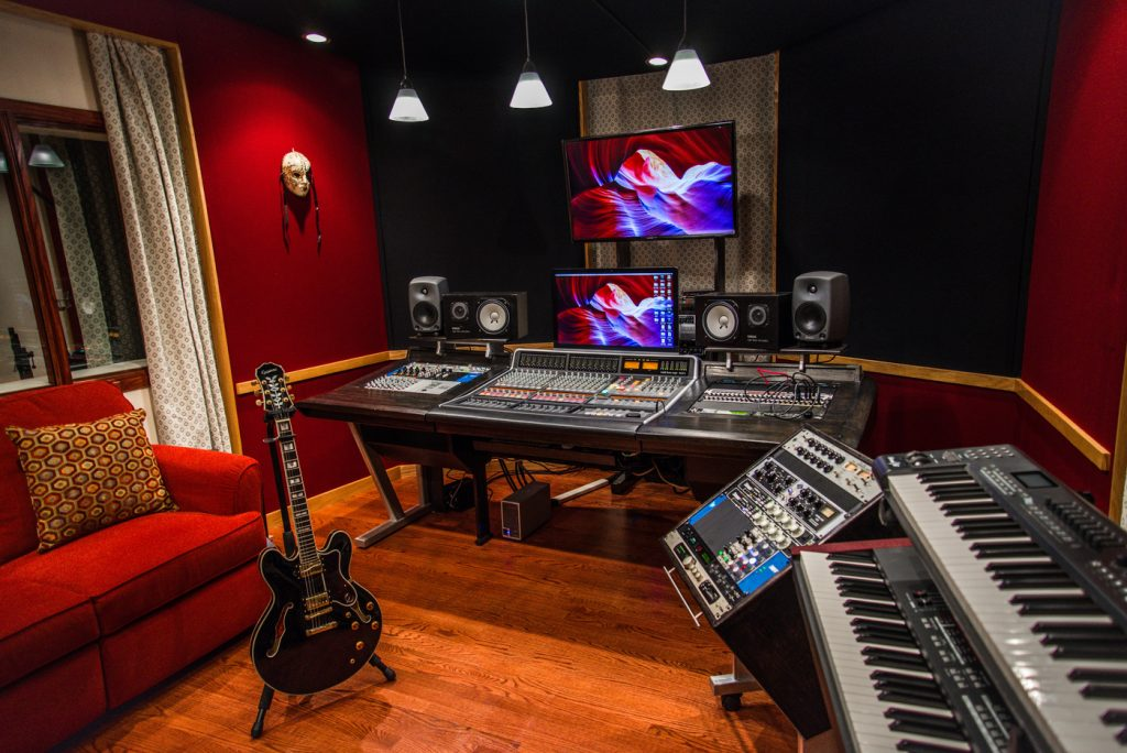 An inside look into a recording studio.