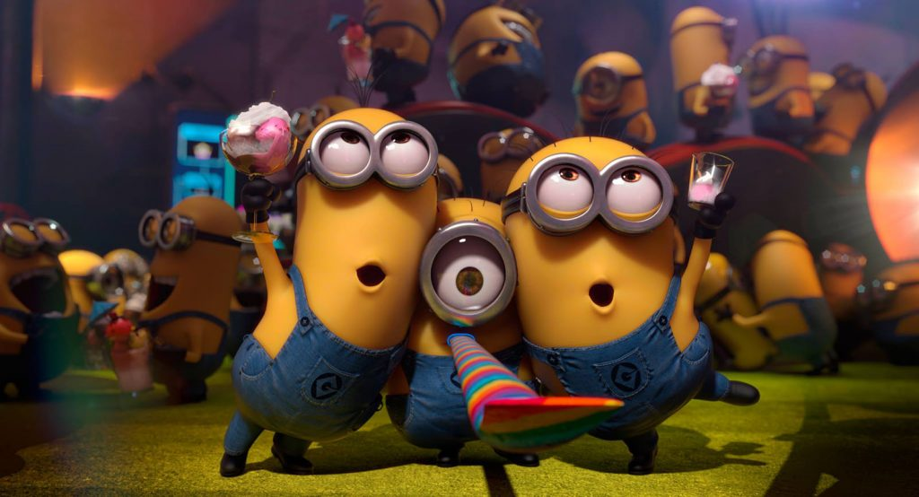 The minions dancing in Despicable Me the movie.