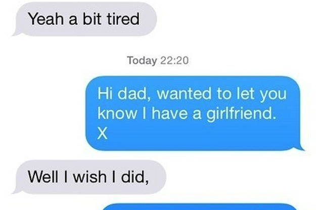 This image shows a text exchange between a teenage girl and her father.