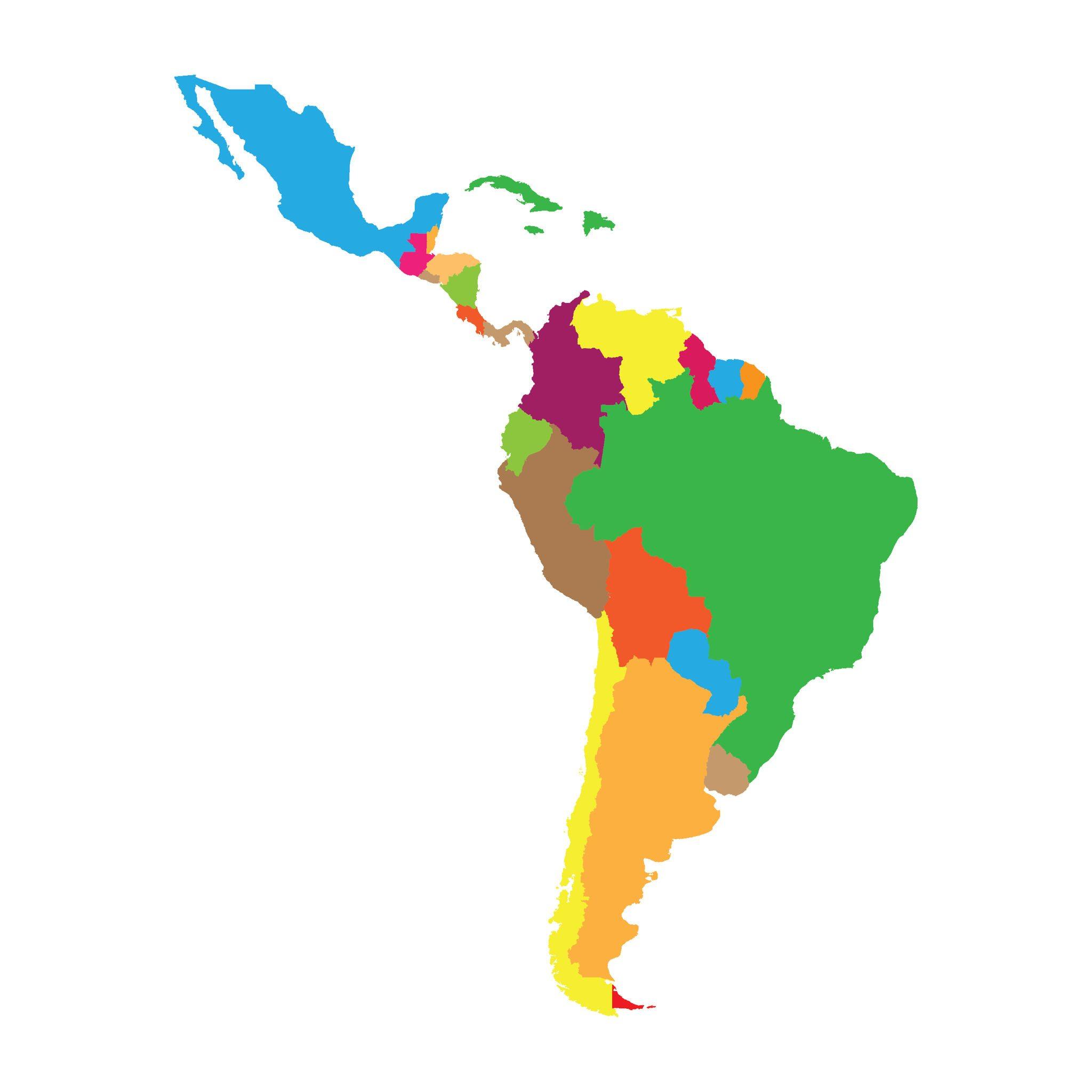 Latin America map.