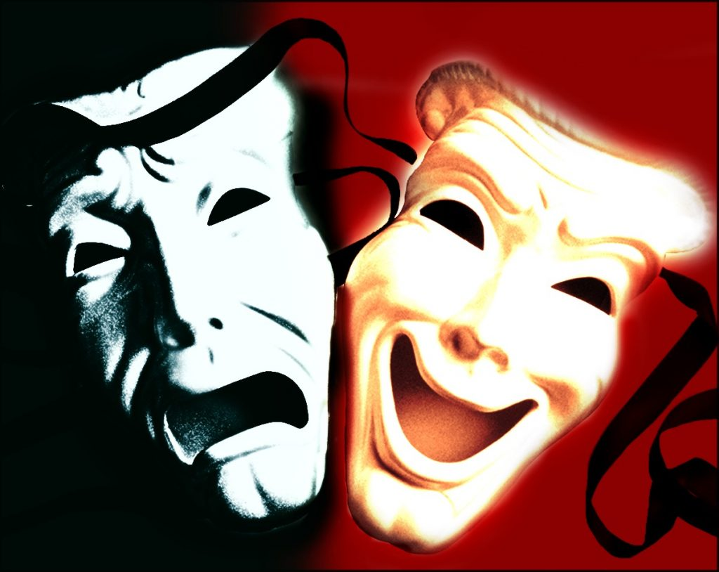 An image of masks in drama.