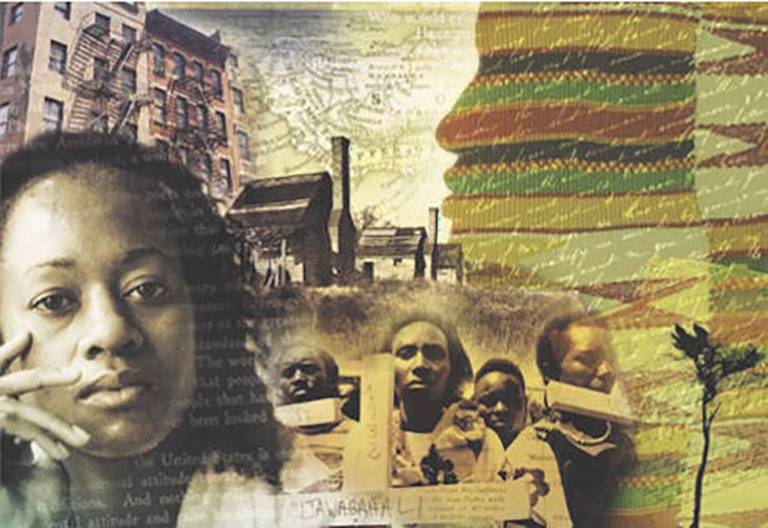 Collage of African American literature themes.