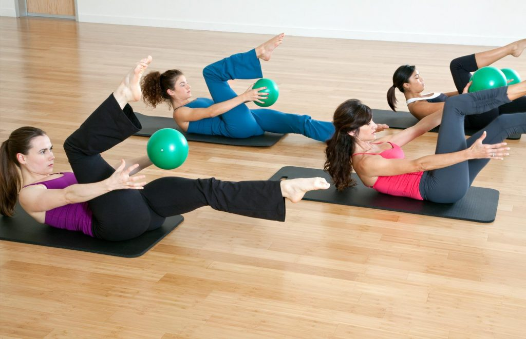 A group in a Pilates class.