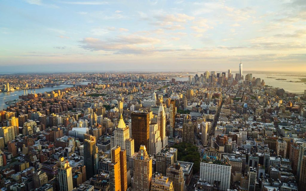 A skyline view of New York City.