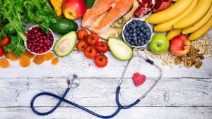 fruits and veggies and stethoscope