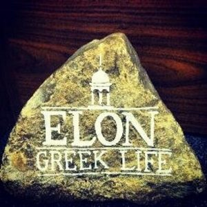 Rock found in front of On-Campus Greek houses