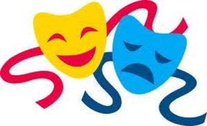 An image of the classic masks that symbolize drama and the performing arts