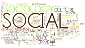 A collage of all the topics in society that sociology entails