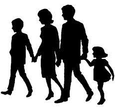 A silhouette of a 4-person family.