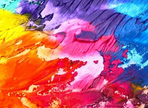 Splashes of paint on a canvas