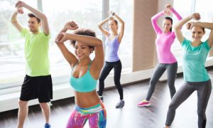 An image of people taking a Zumba class