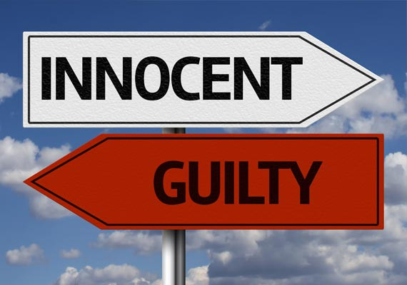 Road signs showing 'innocent' one way, and 'guilty' the opposite way