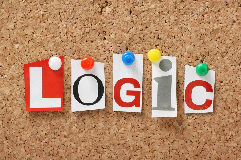 The word logic on a bulletin board.