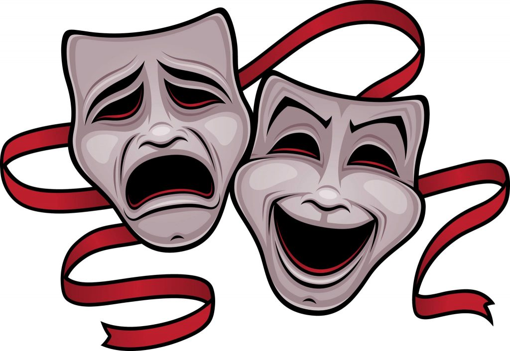 An image of two masks associated with drama and emotion in acting