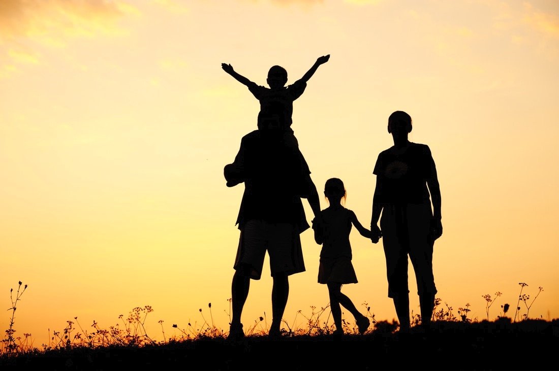 This image shows a happy family--one that may be studied in this course.