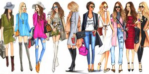 Drawing of people wearing fashionable clothing