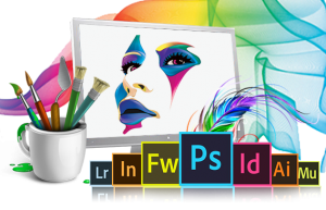 Image of Adobe software with colorful creation in background
