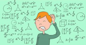 A cartoon of a kid scratching his head in puzzlement over mathematics