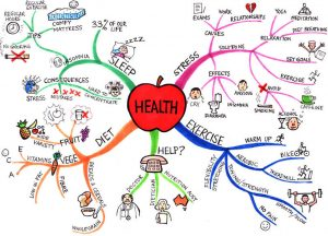 A diagram showing all the facets of health that chemistry impacts