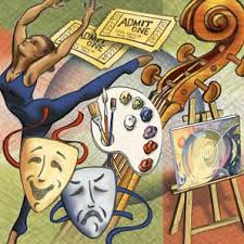 Graphic with representations of different arts (theater, painting, music)
