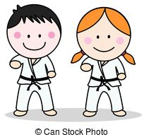The picture shows one boy and one girl in karate uniforms, to show that karate can be for both genders.