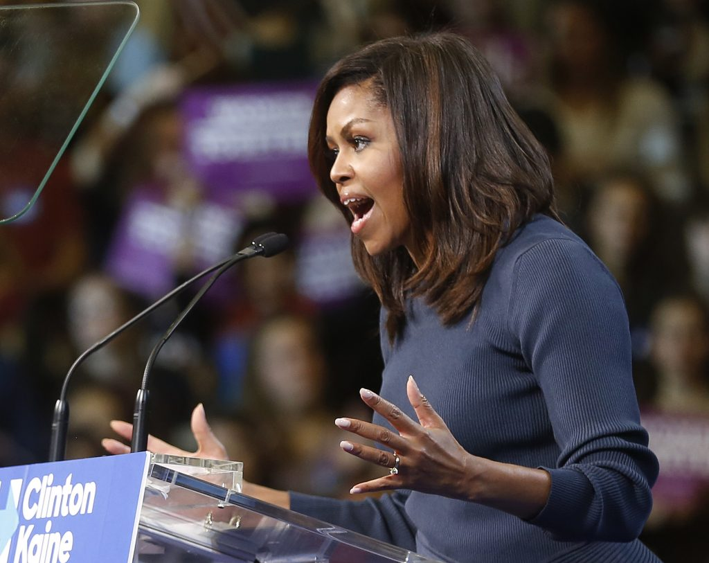 Michelle Obama speaking at a Hillary Clinton rally.
