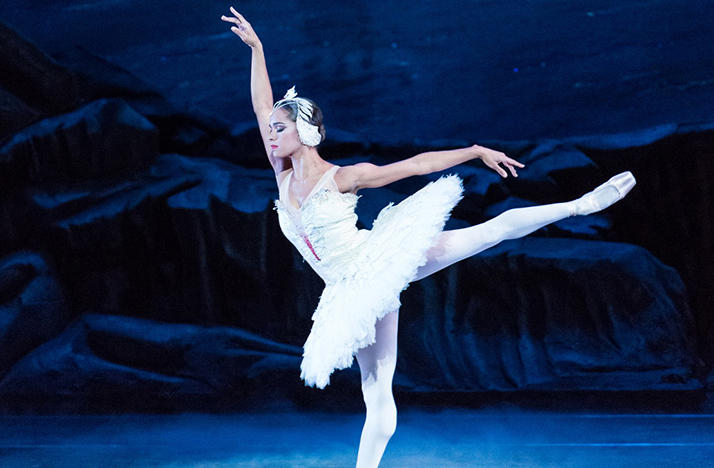 Misty Copeland performing in the Black Swan.