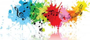 Music notes splattered on colors.