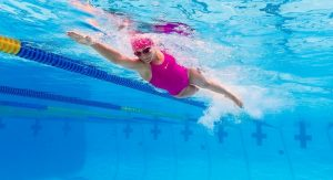 An image of a girl swimming.