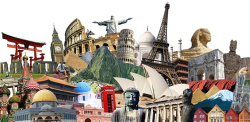 A collage of some of the world monuments.