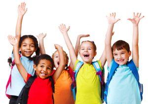 An image of kids raising their hands.