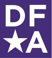 Purple and white logo reading