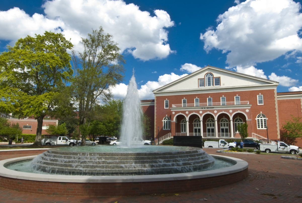 East Carolina University campus fountain