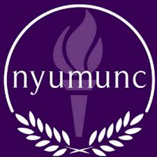 Purple torch of NYU surrounded by laurels reading
