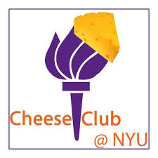 The purple torch of NYU topped with a piece of cheddar cheese