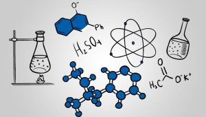 A picture of some chemistry related things like molecules and an atom.