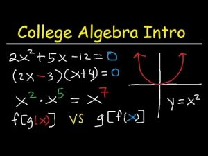 Some college algebra showing some basic equations.