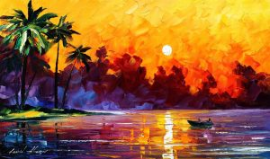 A painting of a sunset.
