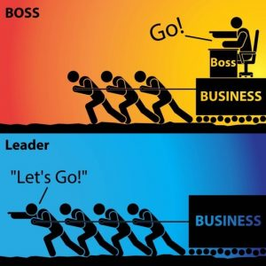 A picture showing how leadership is more helpful than typical boss-mentality.